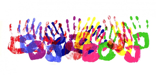 Borda multicolorida de handprints