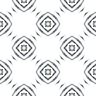 Borda sem costura tropical desenhada de mão. design chique do verão do boho maravilhoso preto e branco. estampado excelente pronto para têxteis, tecido para biquínis, papel de parede, embrulho. padrão sem emenda tropical.