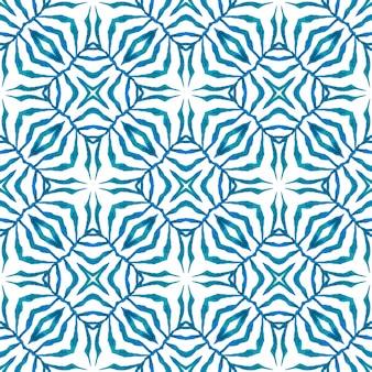 Borda verde orgânica na moda. projeto chique do verão do boho vibrante azul. ladrilho orgânico. têxtil pronto para estampado extático, tecido de biquíni, papel de parede, embrulho.