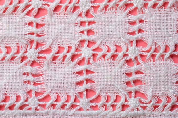 Bordado à mão em tecido de linho e algodão tecido caseiro richelieu e malha
