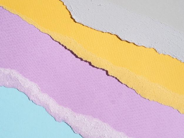 Bordas de papel rasgado abstratas coloridas