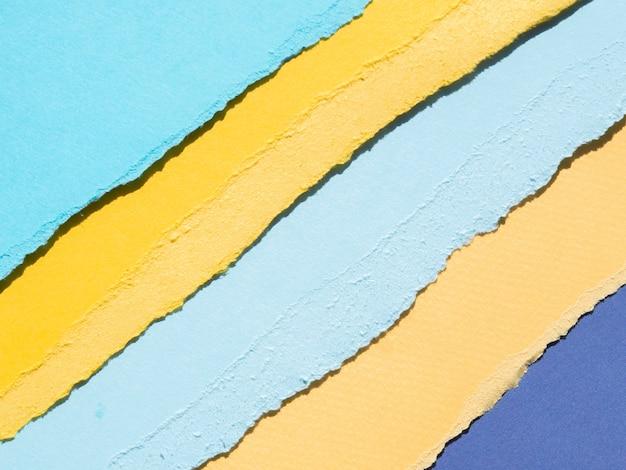 Bordas de papel rasgado abstratas laranja e azul