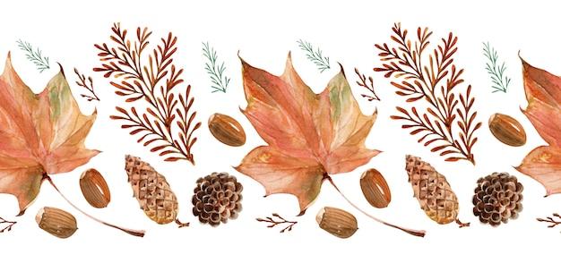 Bordas em aquarela outono de renda brilhante