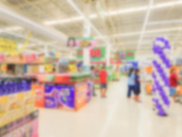 Borrão abstrato da loja no supermercado.