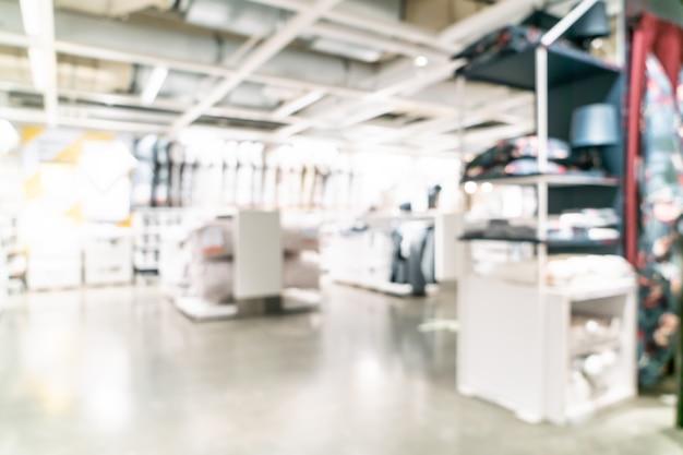 Borrão abstrato decoração de móveis e interior de loja de armazém