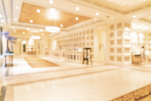 Borrão abstrato e lobby de hotel de luxo desfocado para
