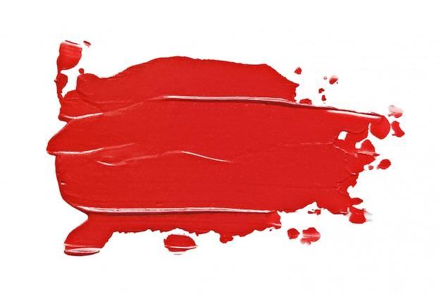 Borrão de batom vermelho isolado no branco