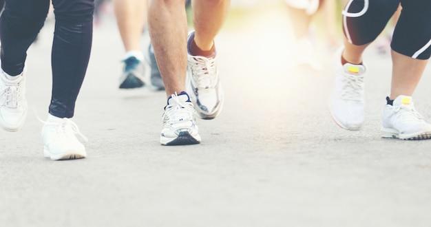 Borrão de movimento da corrida de maratona