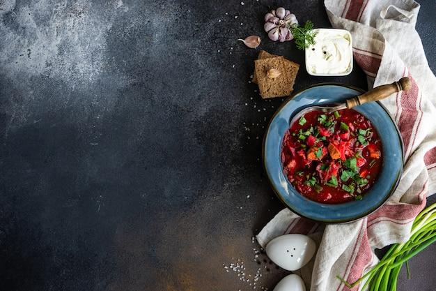 Borscht de sopa de beterraba ucraniana