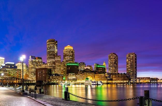 Boston, centro cidade, skylines, baía
