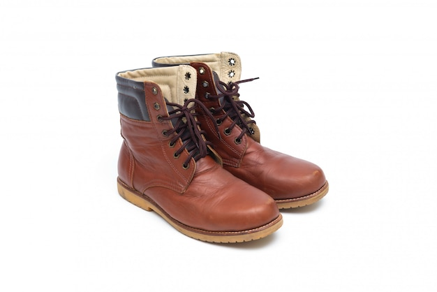 Bota masculina de couro marrom, moda calçados