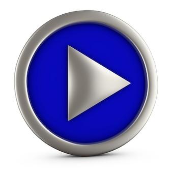 Botão azul do jogo no fundo branco. renderização 3d.
