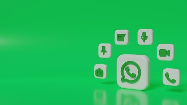 Botão com logotipo do whatsapp 3d render com ícones de chat de fundo