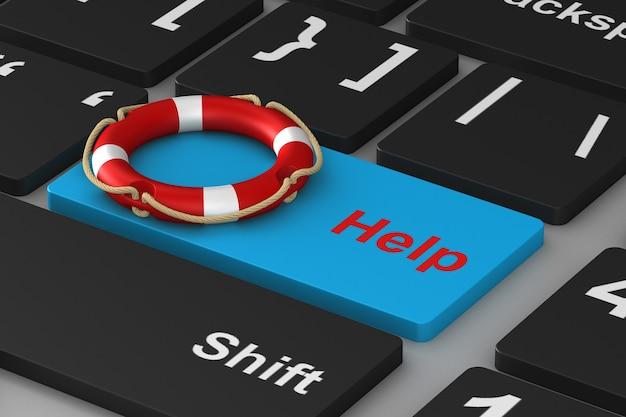 Botão de ajuda no teclado. ilustração 3d