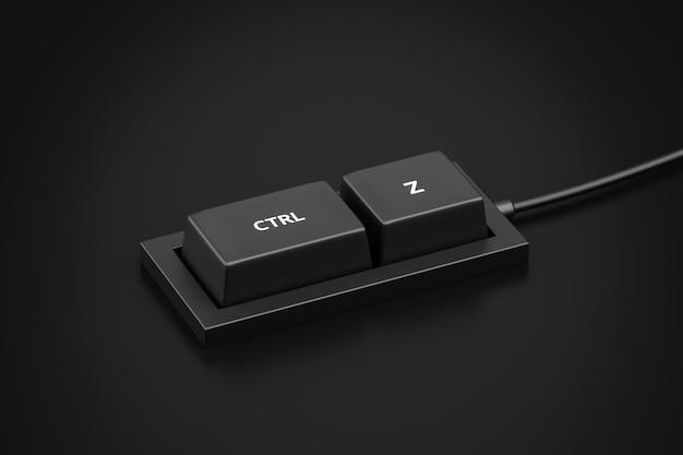Botão de atalho ctrl z e desfaz ou retrocede o conceito de teclado do fundo do teclado de controle. renderização 3d.