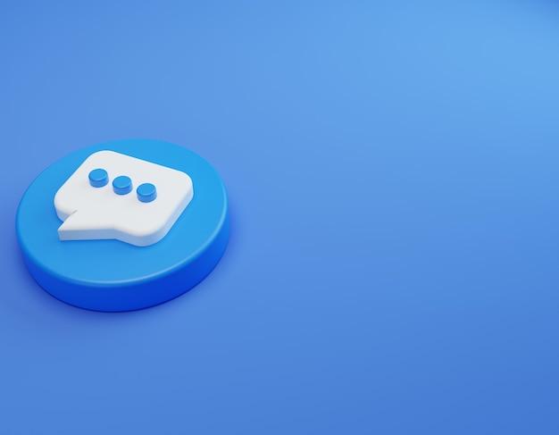 Botão de contato 3d com fundo azul