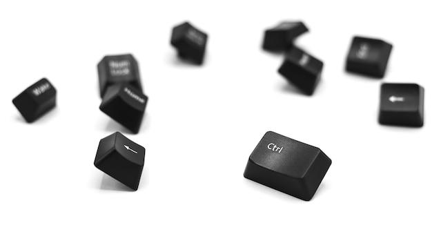 Botão de controle do teclado do computador isolado no fundo branco