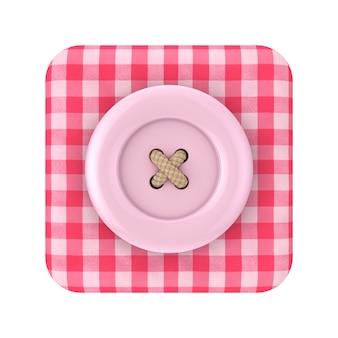 Botão de costura rosa sobre ícone de caixa de tecido tartan rosa em um fundo branco renderização 3d