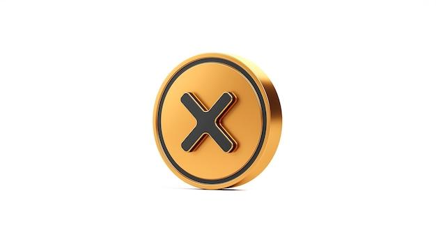 Botão de ícone de marca de seleção da cruz dourada e nenhum ou símbolo errado isolado no botão de cancelamento de rejeição da lista de verificação negativa com fundo branco com caixa de opção de declínio. renderização 3d.
