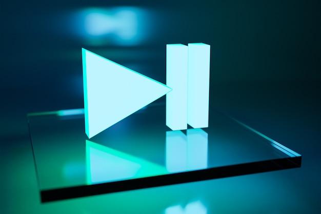 Botão de ilustração 3d para ligar a música em fundo azul e verde. leitor de vídeo e música iniciar e parar o sinal do botão. elemento de design do jogo