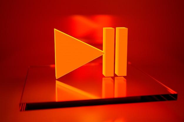 Botão de ilustração 3d para ligar a música em fundo laranja. leitor de vídeo e música iniciar e parar o sinal do botão. elemento de design do jogo