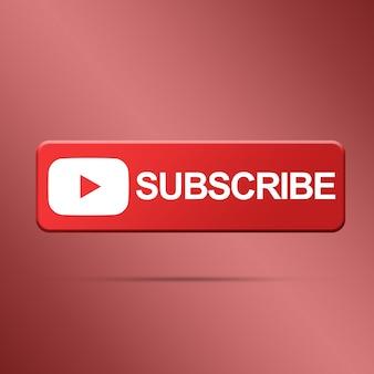 Botão de inscrição com renderização de logotipo do youtube