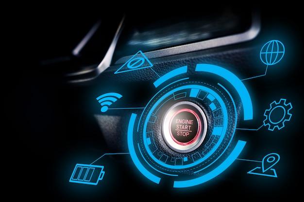 Botão de parada de partida do motor do carro autônomo futurista