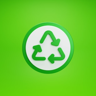 Botão de reciclagem. isolado sobre fundo verde. renderização 3d