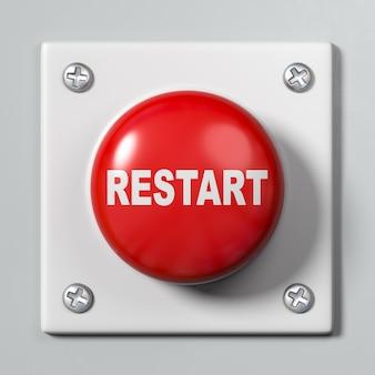 Botão de reinicialização em fundo cinza