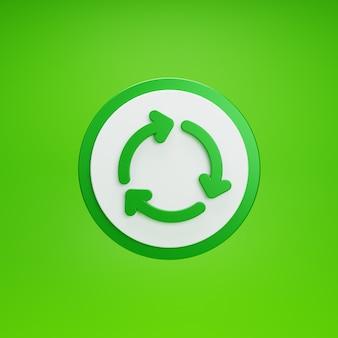Botão de reutilização. isolado sobre fundo verde. renderização 3d