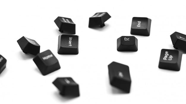Botão esc (escape) de um teclado isolado no fundo branco