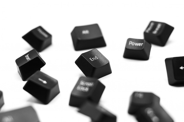 Botão final do teclado isolado no fundo branco