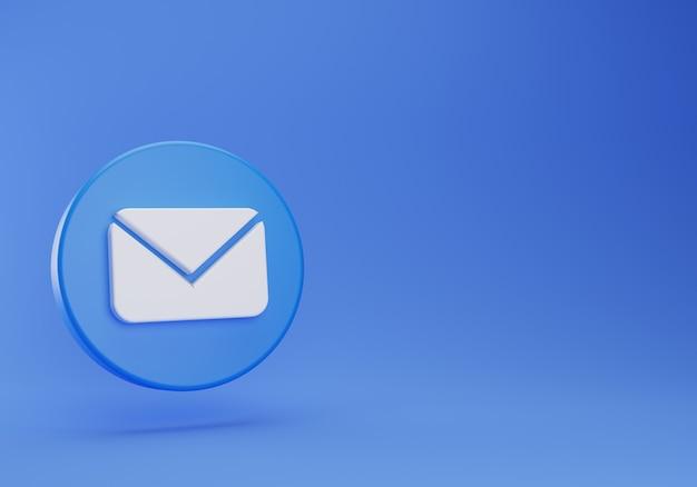 Botão flutuante de mensagem 3d no bate-papo no fundo azul
