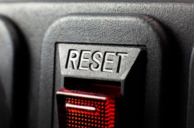 Botão redefinir vermelho. feche a textura.