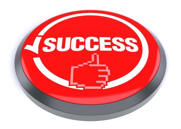 Botão vermelho de sucesso, isolado no fundo branco.