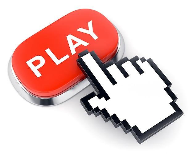 Botão vermelho de vídeo na web play e cursor em forma de mão