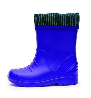 Botas de borracha azul bebê com punho para um clima chuvoso