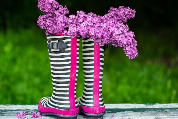 Botas de borracha com buquê de flores lilases. composição criativa de primavera.