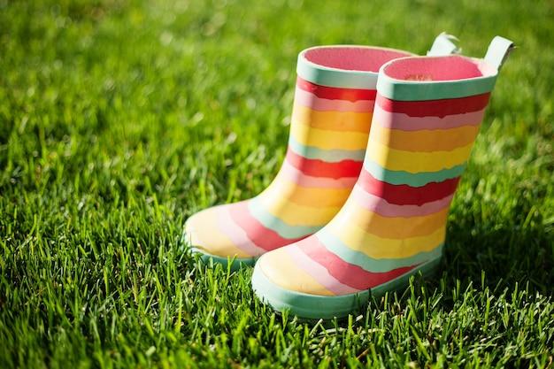Botas de chuva listradas na grama verde