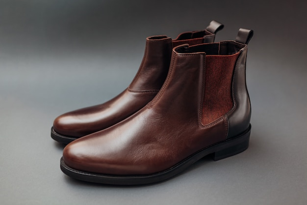 Botas de couro chelsea para homem