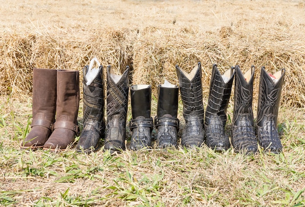 Botas de couro de cowboy de crocodilo
