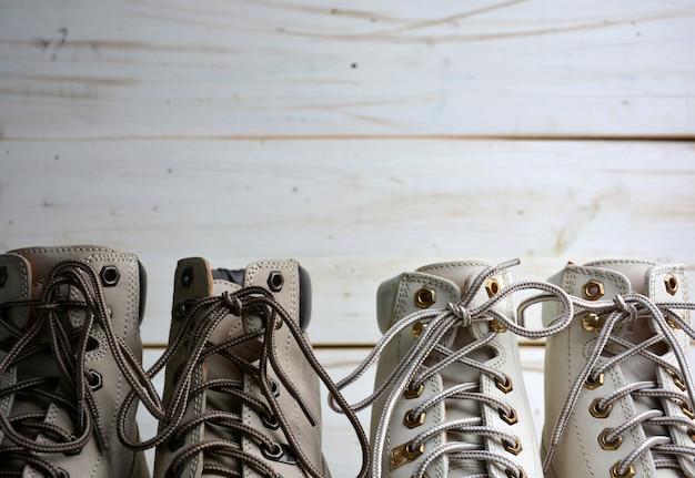 Botas de couro masculinas e femininas autênticas