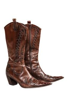 Botas de cowboy, isoladas em um fundo branco