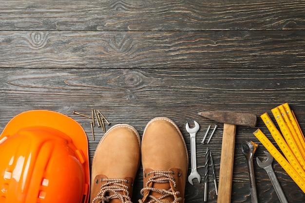 Botas para capacete de segurança e ferramentas de construção