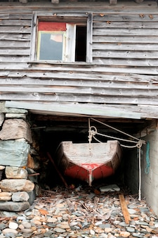 Bote, em, um, boathouse, hardangervidda, hardanger, noruega