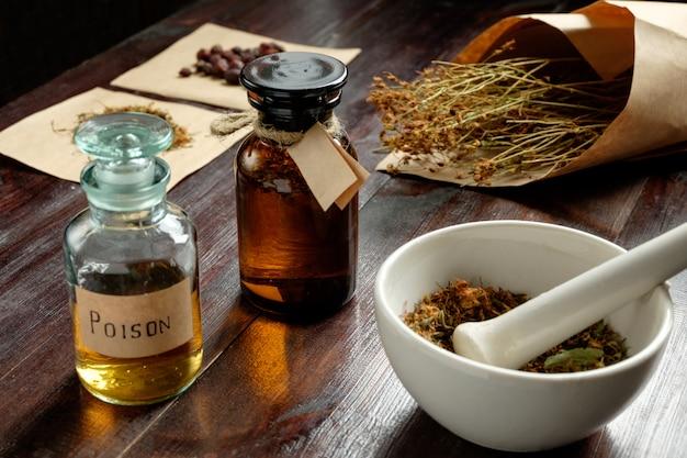 Boticário conjunto vintage, preparação de veneno de ervas