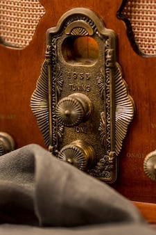 Botões de rádio retrô de luxo para close-up