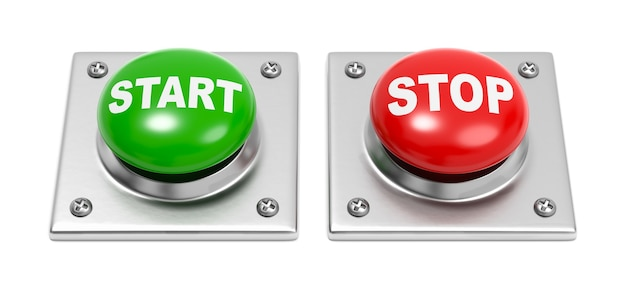 Botões iniciar e parar em branco