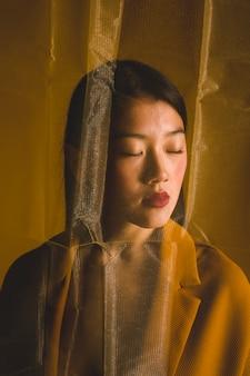 Boudoir, retrato, de, mulher asian