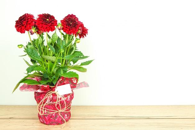 Bouquet de lindas dálias vermelhas preparadas como um presente com cartão em branco sobre uma mesa de madeira